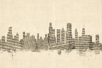 City Digital Art - Chicago Illinois Skyline Sheet Music Cityscape by Michael Tompsett