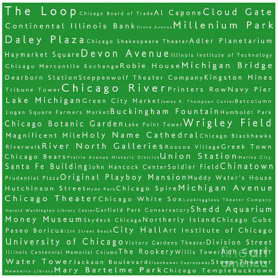 Willis Tower Digital Art - Chicago In Words Green by Sabine Jacobs
