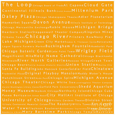 Chicago In Words Orange Print by Sabine Jacobs