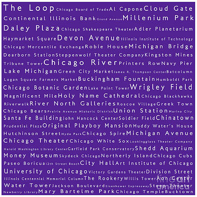 Wrigley Field Digital Art - Chicago In Words Purple by Sabine Jacobs