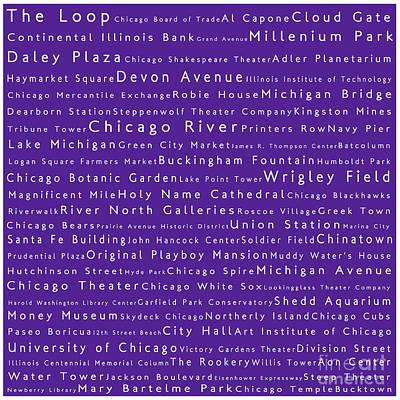 Wrigley Field Digital Art - Chicago In Words Purple by Sabine Jacobs
