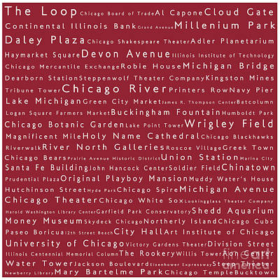 Wrigley Field Digital Art - Chicago In Words Red by Sabine Jacobs