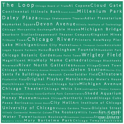 Chicago In Words Algae Art Print by Sabine Jacobs