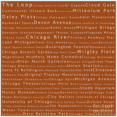 Chicago In Words Toffee Art Print