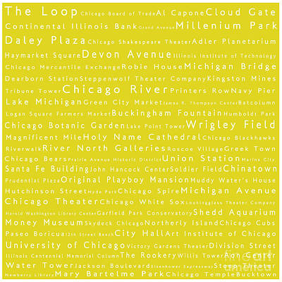 Chicago In Words Yellow Art Print by Sabine Jacobs
