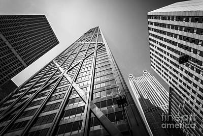 Chicago John Hancock Building In Black And White Art Print by Paul Velgos