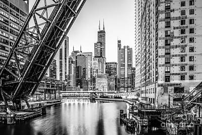 Willis Tower Photograph - Chicago Kinzie Railroad Bridge Black And White Photo by Paul Velgos