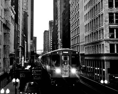 City Scenes Royalty-Free and Rights-Managed Images - Chicago L Black And White by Benjamin Yeager