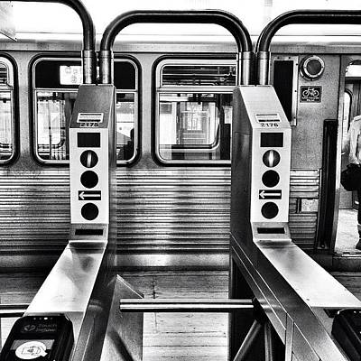Transportation Photograph - Chicago L Train Gate In Black And White by Paul Velgos