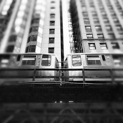 White Photograph - Chicago L Train In Black And White by Paul Velgos