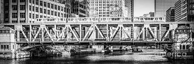 City Scenes Royalty-Free and Rights-Managed Images - Chicago Lake Street Bridge L Train Black and White Picture by Paul Velgos