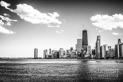 Hancock Building Photograph - Chicago Lakefront Skyline Black And White Picture by Paul Velgos