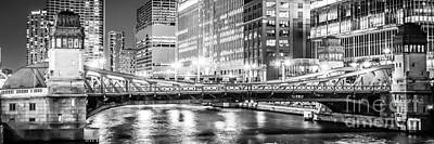 Merchandise Photograph - Chicago Lasalle Street Bridge At Night Panorama Photo by Paul Velgos