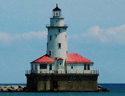Digital Art - Chicago Lighthouse by Chris Flees
