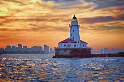 Digital Art - Chicago Lighthouse Impression by John Hansen