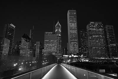 Chicago Lights B W Art Print