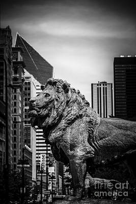 Animals Photos - Chicago Lion Statues in Black and White by Paul Velgos