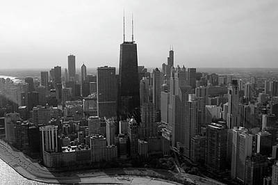 Chicago Looking South 01 Black And White Art Print by Thomas Woolworth
