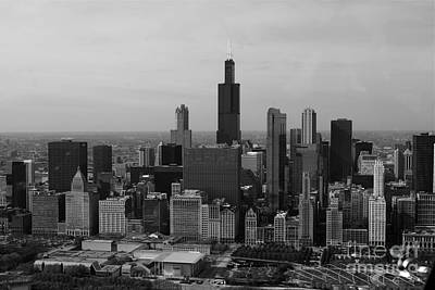 Chicago Looking West 01 Black And White Art Print by Thomas Woolworth