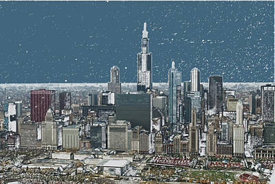 Chicago Looking West In A Snow Storm Digital Art Art Print by Thomas Woolworth