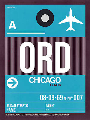 Airplane Digital Art - Chicago Luggage Poster 1 by Naxart Studio