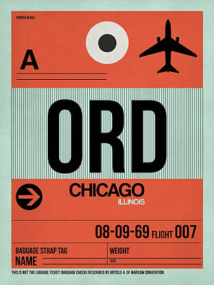 City Digital Art - Chicago Luggage Poster 2 by Naxart Studio