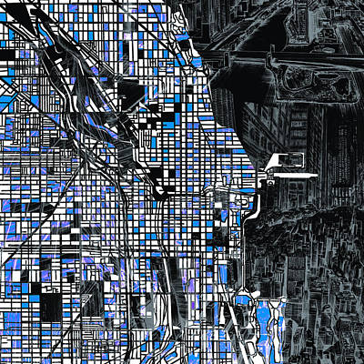 Abstract Skyline Royalty-Free and Rights-Managed Images - Chicago Map Drawing Collage 3 by Bekim M