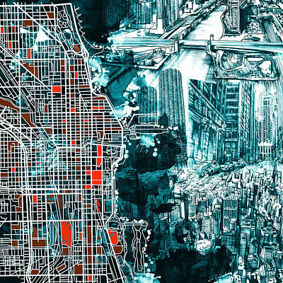 Chicago Skyline Painting - Chicago Map Drawing Collage by Bekim Art