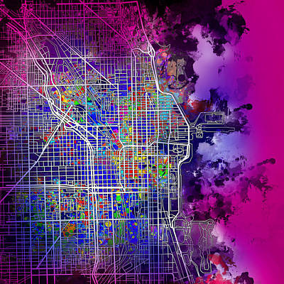 Chicago Skyline Painting - Chicago Map Purple Version by Bekim Art
