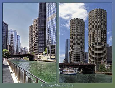 Digital Art - Chicago Marina City 2 Panel by Thomas Woolworth