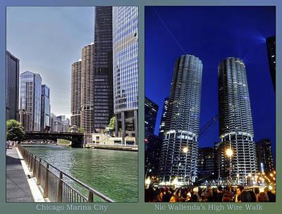 Digital Art - Chicago Marina City Nic Wallendas Walk 2 Panel by Thomas Woolworth