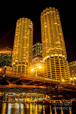 Chicago Marina City Towers At Night Picture Print by Paul Velgos