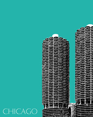 Ink Digital Art - Chicago Skyline Marina Towers - Teal by DB Artist