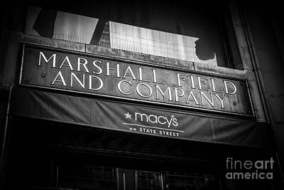 Chicago Marshall Field's Macy's Sign In Black And White Art Print by Paul Velgos