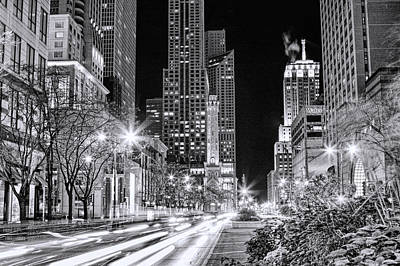Chicago Michigan Avenue Light Streak Black And White Print by Christopher Arndt