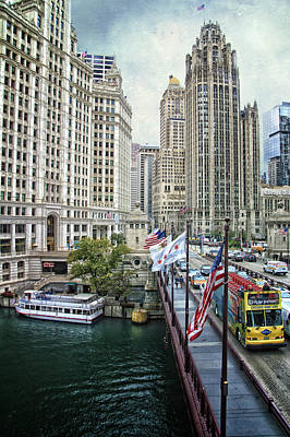Riverwalk Mixed Media - Chicago Michigan Avenue V Hdr Textured by Thomas Woolworth