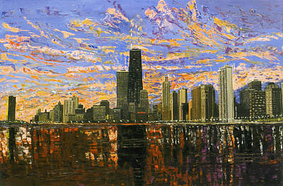 Chicago Skyline Painting - Chicago by Mike Rabe