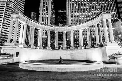City Scenes Royalty-Free and Rights-Managed Images - Chicago Millennium Monument Black and White Picture by Paul Velgos