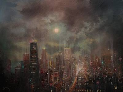 Chicago At Night Painting - Chicago Moon by Tom Shropshire