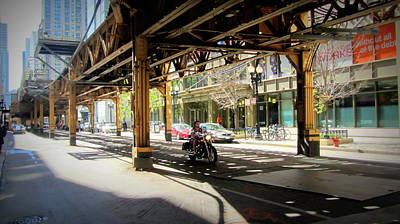 Photograph - Chicago Motorcycle Under The L Track by Anita Burgermeister