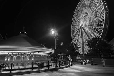 Photograph - Chicago Navy Pier Ferris Wheel And Carousel Black And White by John McGraw