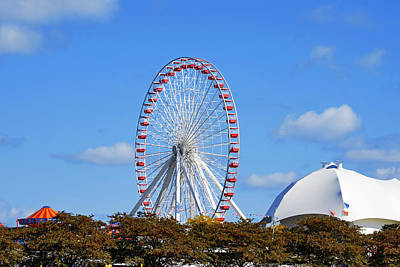 Red White Photograph - Chicago Navy Pier Ferris Wheel by Christine Till