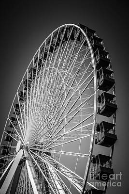 Wheel Photograph - Chicago Navy Pier Ferris Wheel In Black And White by Paul Velgos
