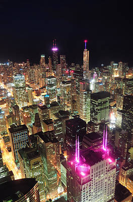 Photograph - Chicago Night Aerial View by Songquan Deng