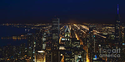 Chicago Night Lights Art Print by Loriannah Hespe