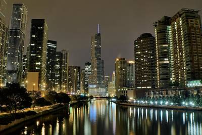 Michael Jordan Photograph - Chicago Night River View by Frozen in Time Fine Art Photography