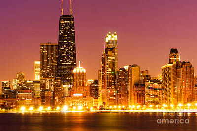 Chicago Night Skyline With John Hancock Building Art Print
