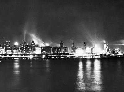 Adler Wall Art - Photograph - Chicago Nighttime Skyline by Underwood Archives