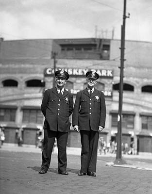 Comiskey Photograph - Chicago Officers At Comiskey by Retro Images Archive