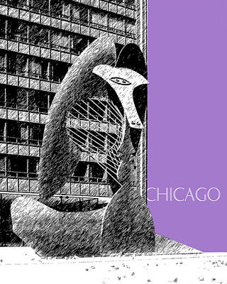 Chicago Skyline Digital Art - Chicago Pablo Picasso - Violet by DB Artist